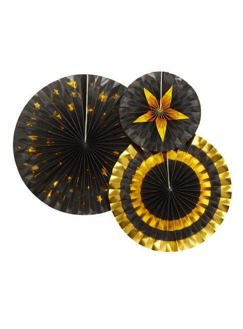 3 festoni a forma di ventaglio decorativo di carta assortit (21-26-30 cm) - Glitz & Glamour Black & Gold