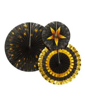 3 papierowe wachlarze dekoracyjne różne wzory - Glitz & Glamour Black & Gold