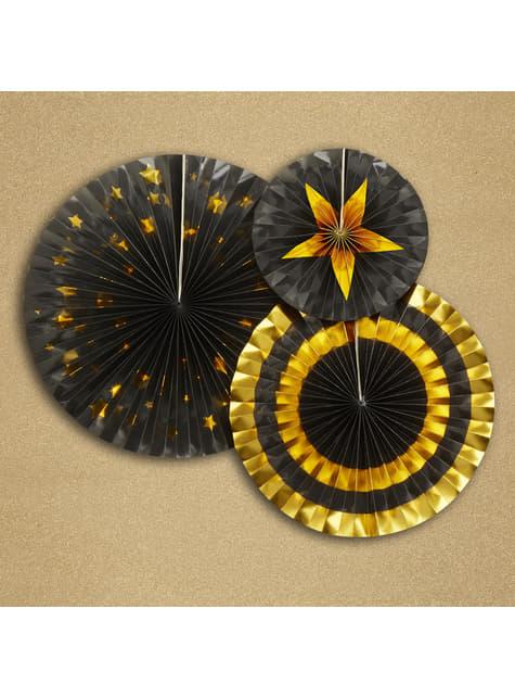 3 Abanicos de papel decorativos variados de papel (21-26-30 cm) - Glitz & Glamour Black & Gold - para tus fiestas