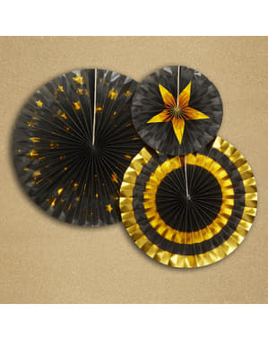 3 assorted decorative paper fan (21-26-30 cm) - Glitz & Glamour Black & Gold