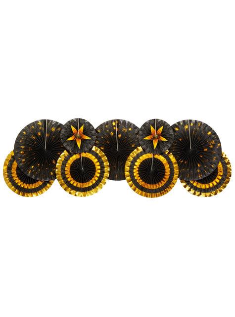 3 Leques de papel decorativos variados de pape (21-26-30 cm) - Glitz & Glamour Black & Gold