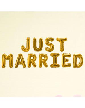 "Fooliumist õhupall ""Just married"" kullas - Glitz & Glamour Black & Gold"