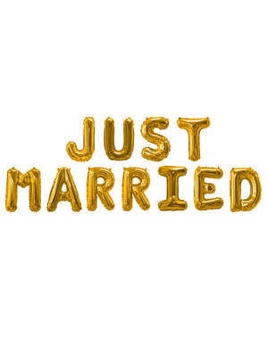 "Folioilmapallo ""Just Married"" kultaisena – Glitz & Glamour Black & Gold"