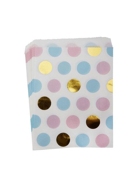 25 Flerfarvede polka prik papirposer - Pattern Works