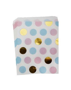 25 duhových papírových sáčků s puntíky - Pattern Works