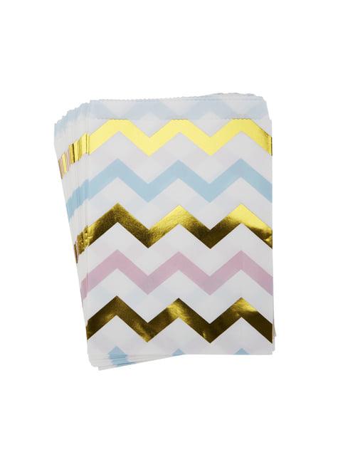 25 bolsitas de papel con zigzag multicolor - Pattern Works Blue