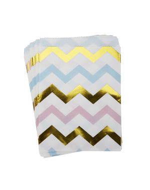 25 kolorowe papierowe torebki w zygzaki - Pattern Works