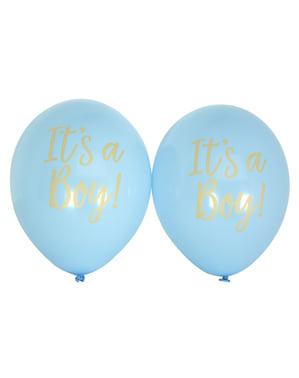 8 надувних кульокок «It's a boy» синього кольору (30 см.) - Pattern Works