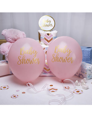 "Komplet iz 8 ""Baby Shower"" lateks balonov v rožnati barvi - Pattern Works"