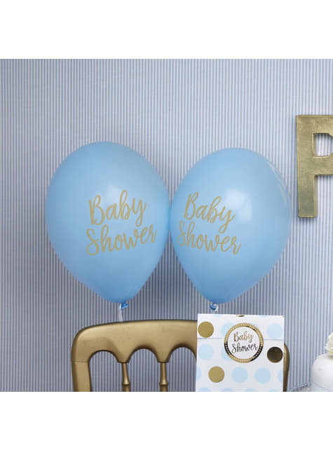 8 globos azules Baby Shower (30 cm) - Pattern Works Blue