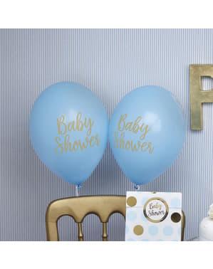 "Komplet 8 ""Baby Shower"" lateks balonov v modri barvi - Pattern Works"