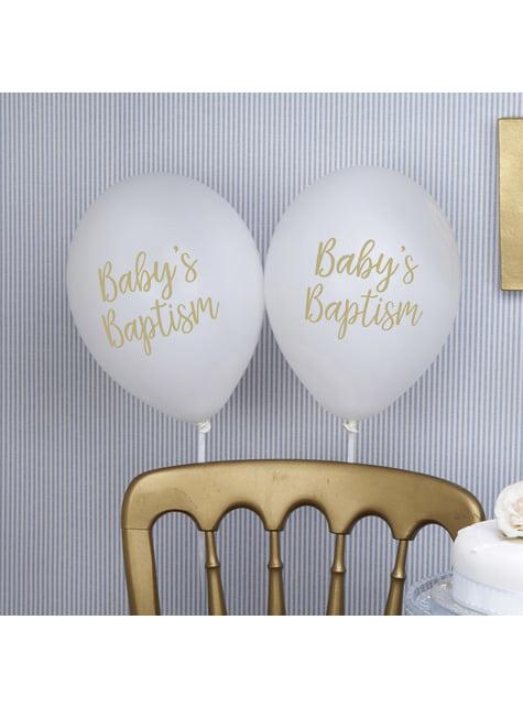 8 Luftballons weiß für Taufe (30 cm) - Baptism