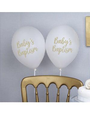 8 globos blancos para bautizo (30 cm) – Baptism