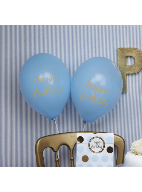 8 globos azules Happy Birthday (30 cm) - Pattern Works Blue