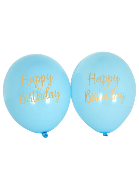 8 globos azules Happy Birthday (30 cm) - Pattern Works Blue - para tus fiestas