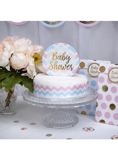 Topper para tarta Baby Shower - Pattern Works Blue - para tus fiestas