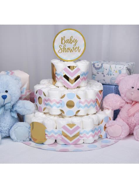 Kit tarta de pañales Baby Shower -Pattern Works Blue