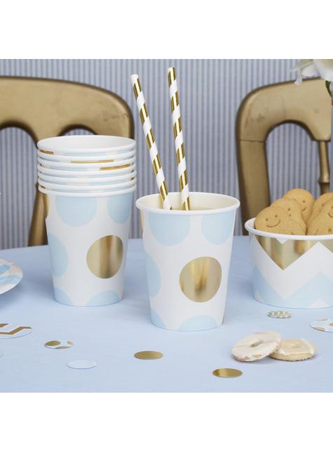 8 vasos de lunares azules y dorados  - Pattern Works Blue - para tus fiestas