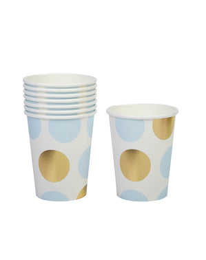 8 paper cups with blue and gold polka dots - Pattern Works