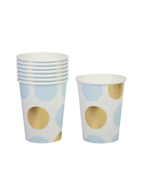 8 papieren bekers met blauwe en gouden polka dots - Patroon Werken