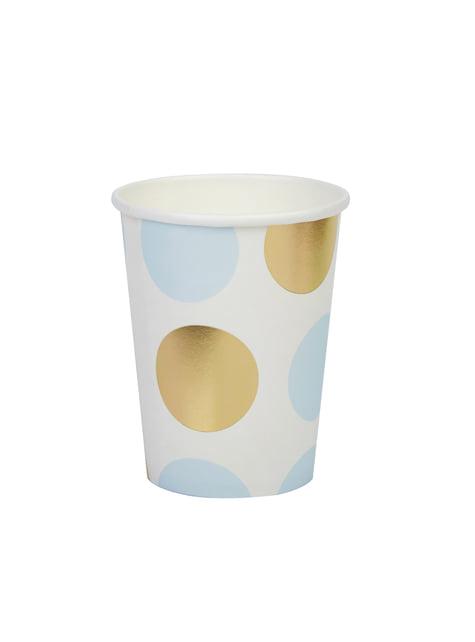 Conjunto de 8 copos de pintas azul e dourado de papel - Pattern Works