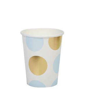 青と金の水玉模様 - パターン作品と8紙コップのセット