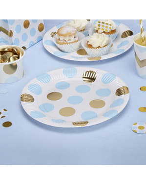 8 paper plates in blue and gold polka dot (23 cm) - Pattern Works