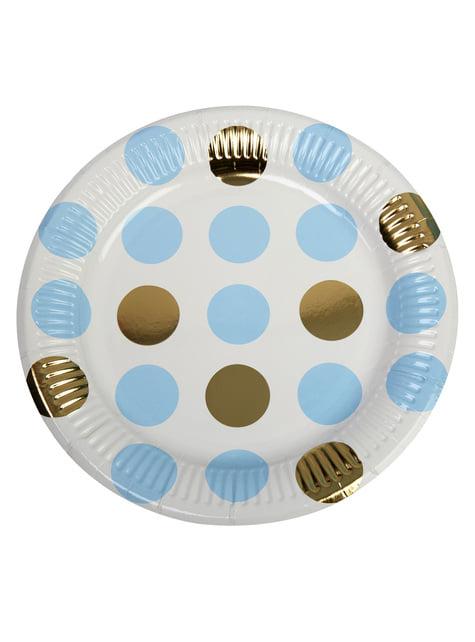 8 pratos de pintas azuis e douradas de pape (23 cm) - Pattern Works