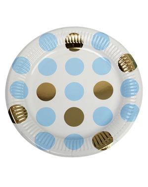 8 papirtallerkner i blå og guld polka prikke (23 cm) - Pattern Works