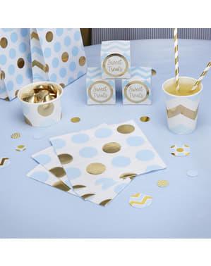 16 servilletas de lunares azules y dorados (33x33 cm) - Pattern Works Blue