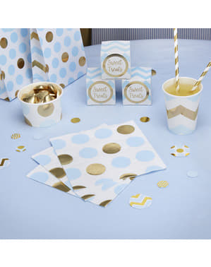 16 paper napkins with blue and gold polka dot (33x33 cm) - Pattern Works