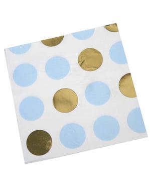 16 tovaglioli di pois blu e dorati di cart (33x33 cm) - Pattern Works
