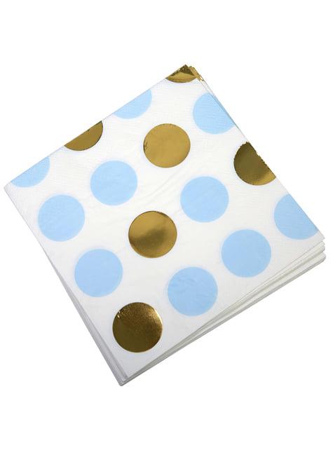 16 serviettes à pois bleus et dorés en papier - Pattern Works
