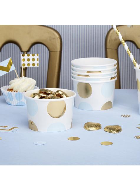 Sæt med 8 papir kopper med blå og guld polka prikker - Pattern Works