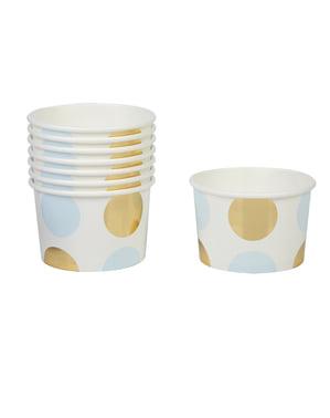 8 papir kopper med blå og guld polka prikker - Pattern Works