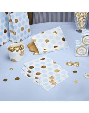 25 små papirposer i blå og guld polka prikker - Pattern Works