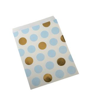 סט 25 שקיות נייר קטנות בשמלה מנוקדת כחולה וזהב - עבודות דפוס