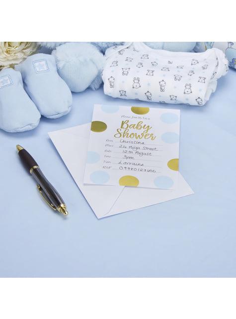 """10 """"Baby Shower"""" paperista kutsukorttia sinikultaisilla polkkapilkuilla – Pattern Works"""