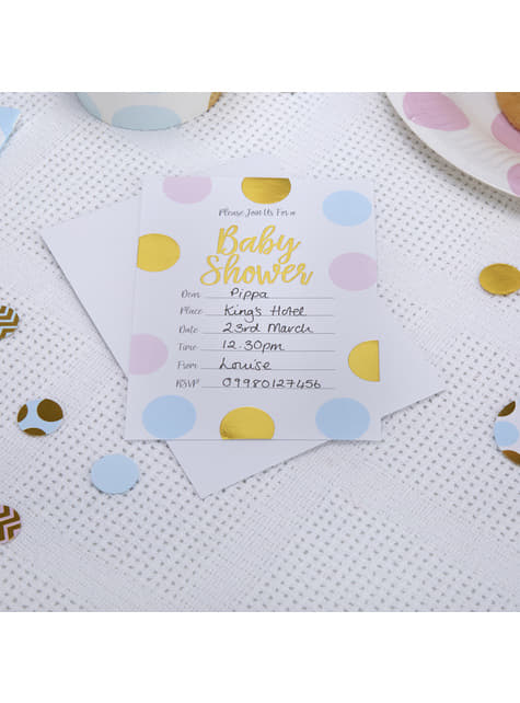 10 convites de pintas azuis, cor-de-rosa e dourados