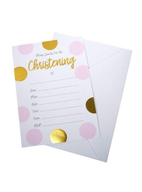 10 invitations à pois roses et dorés