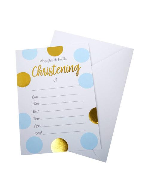 """10 """"Christening"""" paperista kutsukorttia sinikultaisilla polkkapilkuilla – Pattern Works"""