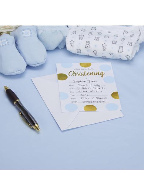 10 invitaciones de lunares azules y dorados Christening - Pattern Works Blue - para tus fiestas