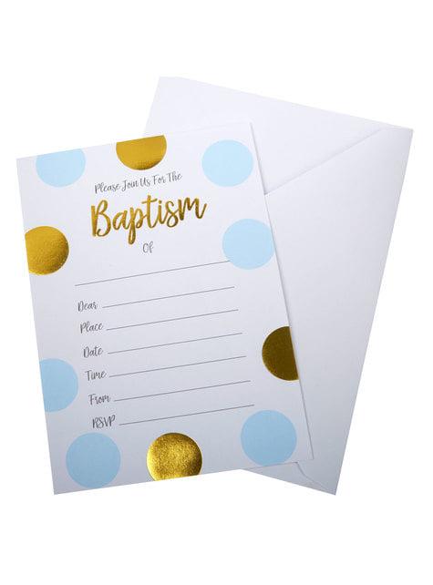 10 invitaciones de lunares azules y dorados Baptism - Pattern Works Blue - para tus fiestas