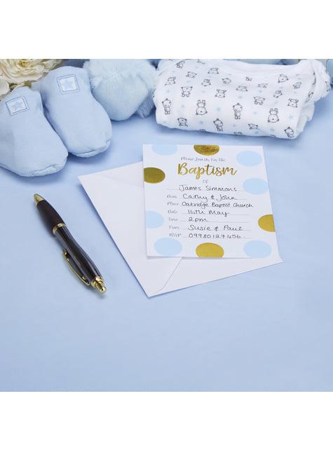 10 invitaciones de lunares azules y dorados Baptism - Pattern Works Blue - barato