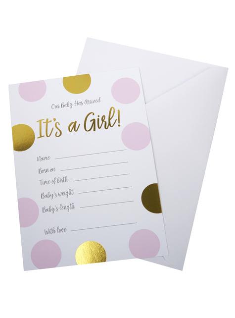 10 tarjetas de nacimiento de lunares rosa y dorados It's a Girl! - Pattern Works Pink