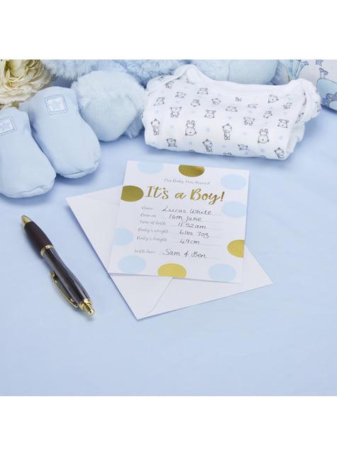 10 tarjetas de nacimiento de lunares azules y dorados It's a boy! - Pattern Works Blue - barato