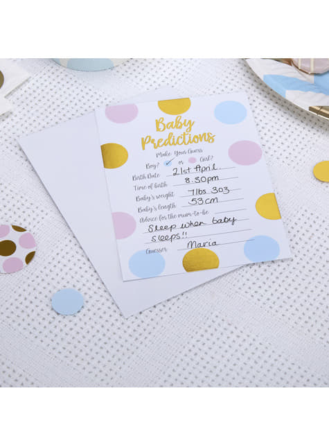 10 tarjetas de preddición de nacimiento Baby Shower - Pattern Works Blue