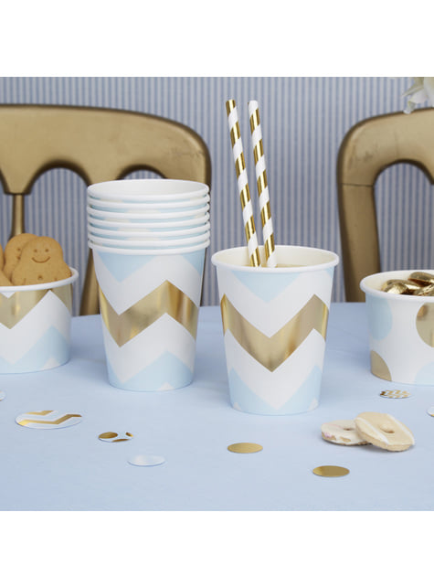 Set of 8 paper cups with blue and gold zig zags - Pattern Works