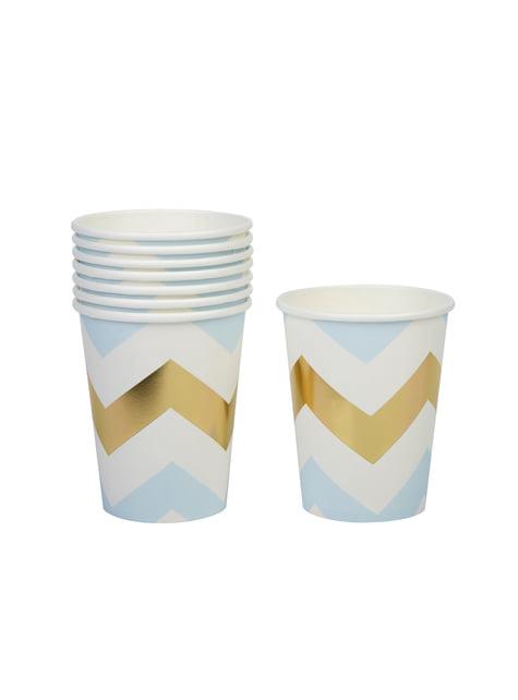 8 vasos de zigzag azul y dorado - Pattern Works Blue