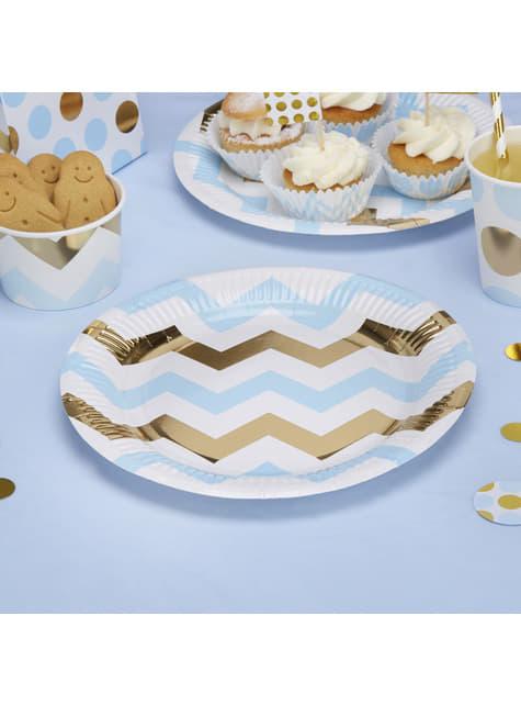 8 platos de zigzag azul y dorado (23 cm) - Pattern Works Blue
